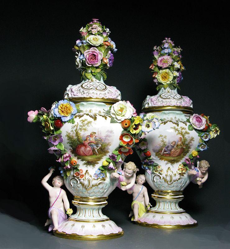 A Pair Of Covered Meissen Vases Meissen Porcelain Pinterest