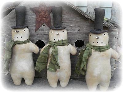 Primitive Winter Christmas Snow Men Ornies Bowlfillers dolls~jillykbee~ in Antiques, Primitives | eBay