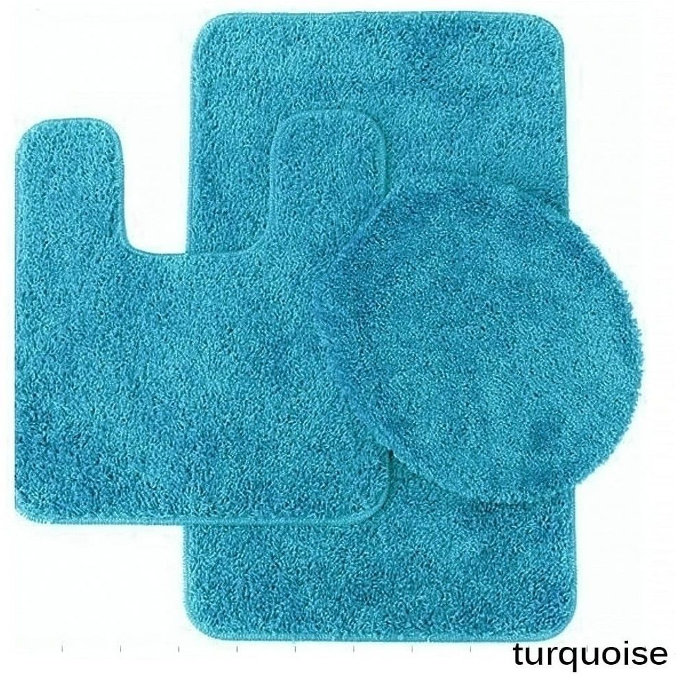 Turquoise Bathroom Rug And Toilet Seat Cover With Non Skid Backing Set Of 3 Bathrug Nonskid Seatcover Toiletcover Bathmat Mat
