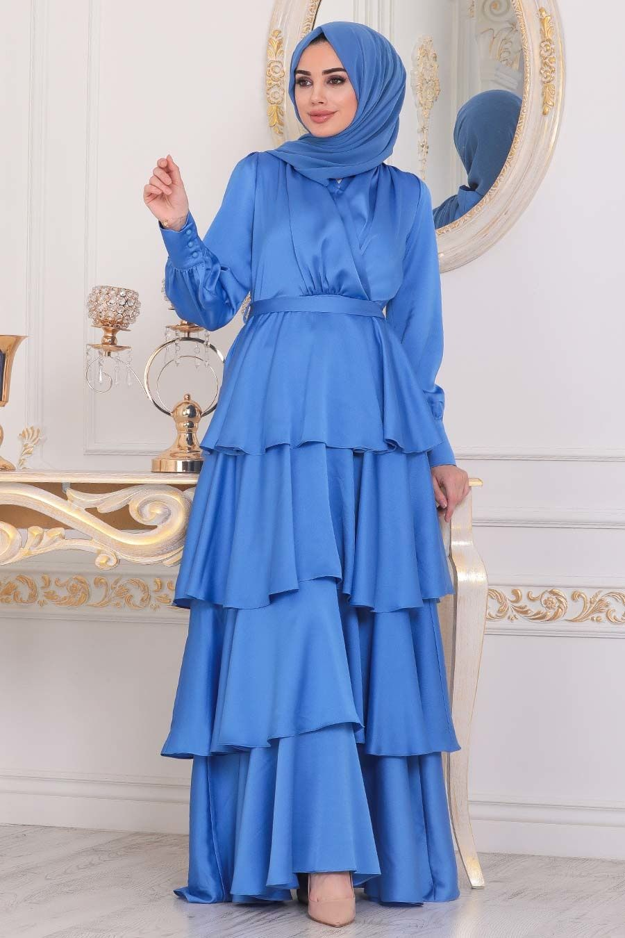 Tesetturlu Abiye Elbise Firfirli Krep Saten Indigo Mavisi Tesettur Abiye Elbise 22701im Tesetturisland Com 2020 Moda Stilleri Indigo Mutevazi Moda