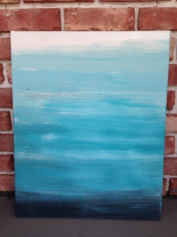 Hand Painted Ombré 16x20 canvas, light to dark shades of one color, Wall Art