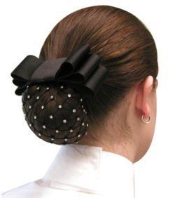 Rhinestone White Pearl Bun Hair Net Crochet Mesh Snood Cover Ballet Dance Riding