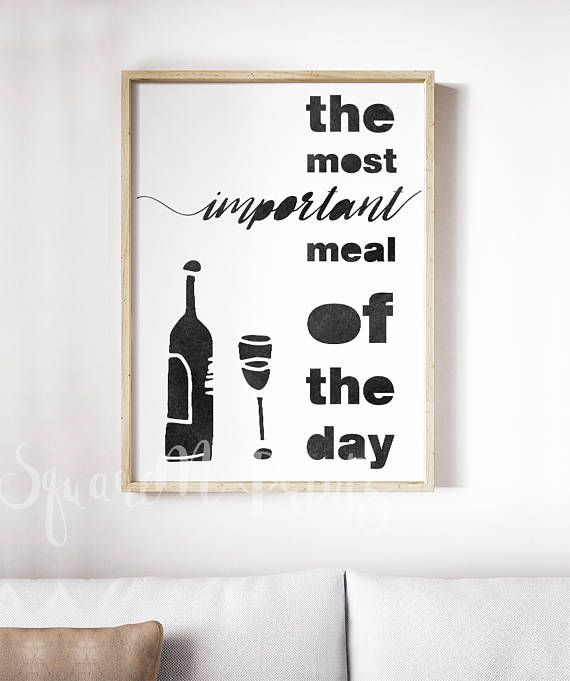 WINE Print, Kitchen Wall Art Decor, Wine Lovers Gift Card ...