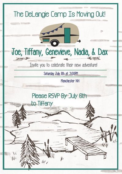 Camping theme going away party invitation.
