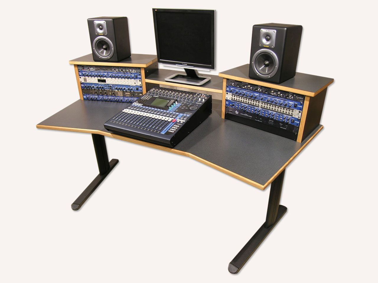 home studio desk design. Simple Wood Gray Studio Desk Design with Elegant Black Aluminum Legs for  Interior Furniture Ideas http votethru com how to recording studio desk speakers
