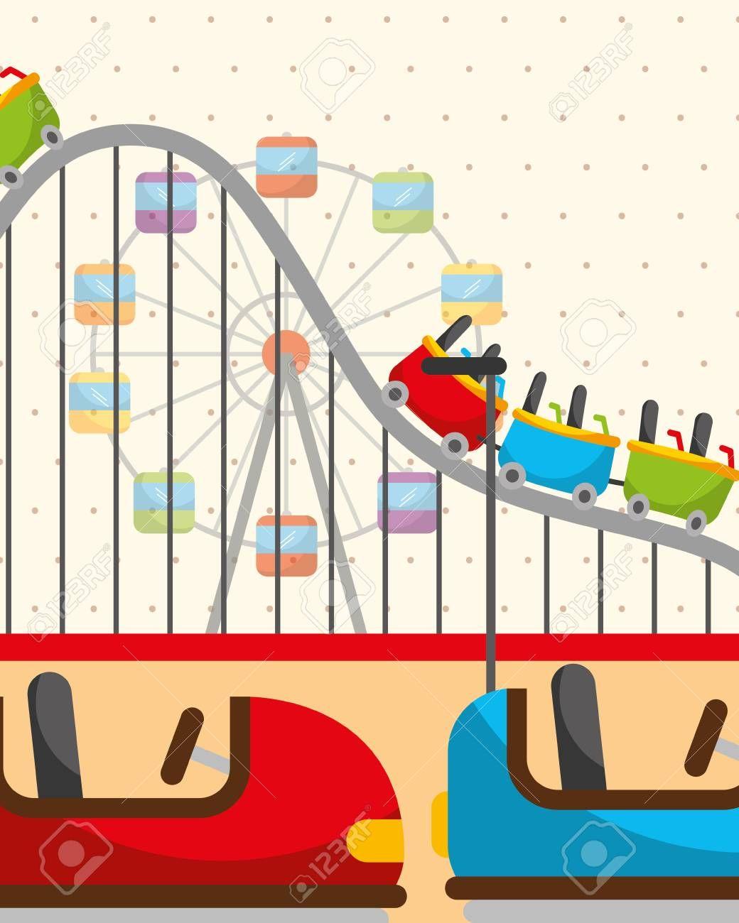Roller Coaster Ferris Wheel And Bumper Cars Carnival Fun Fair Festival Vector Il Graphic Design Portfolio Print Print Portfolio Design Graphic Design Portfolio