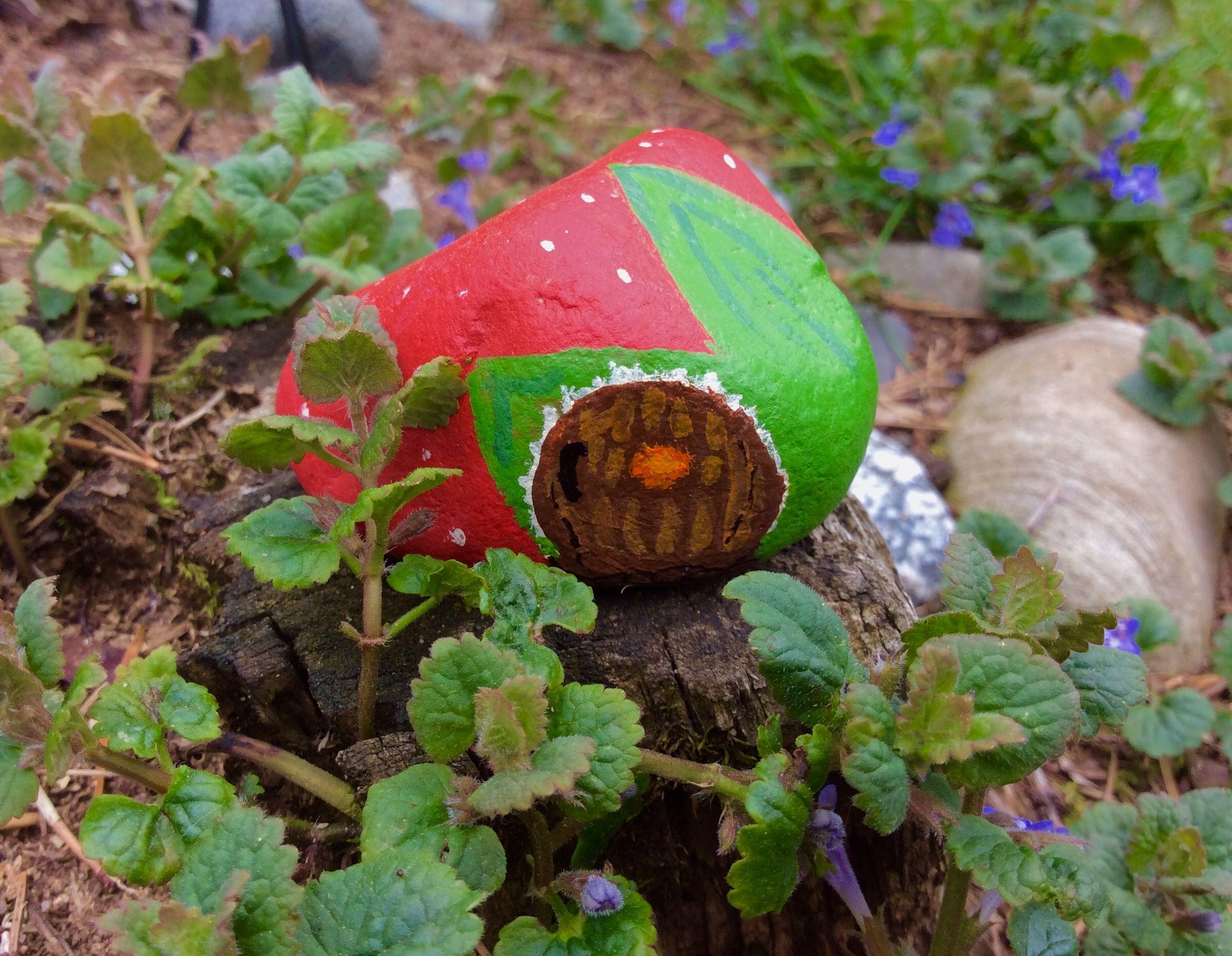 My painted rock stone house for a fairy garden, rock garden, garden ...