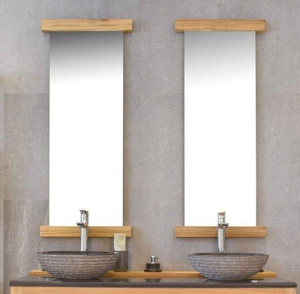 Un seul ne suffit pas, voilà 2 miroirs en teck de 120 cm pour votre