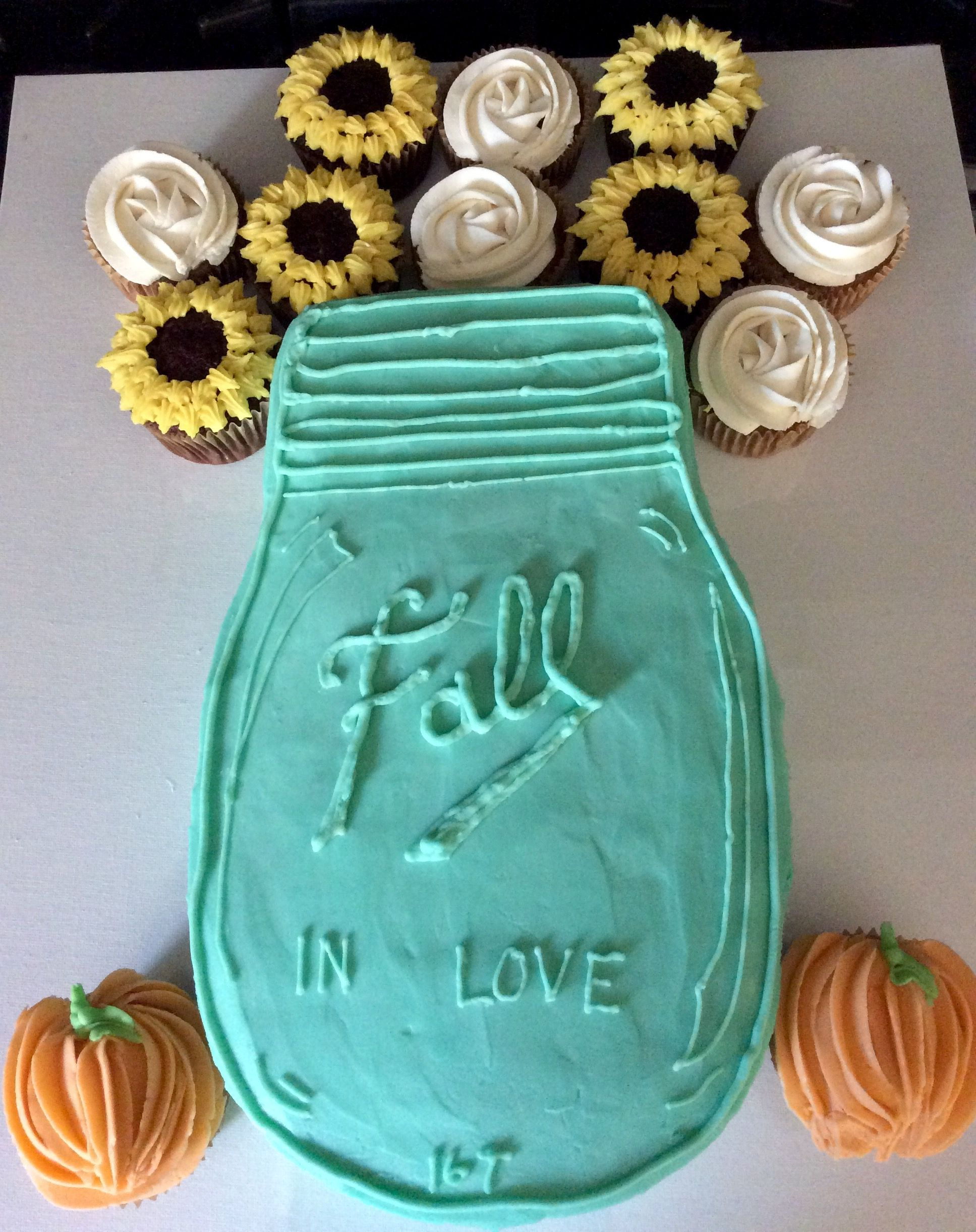 Mason jar cake and cupcakes for a fall themed bridal shower ana