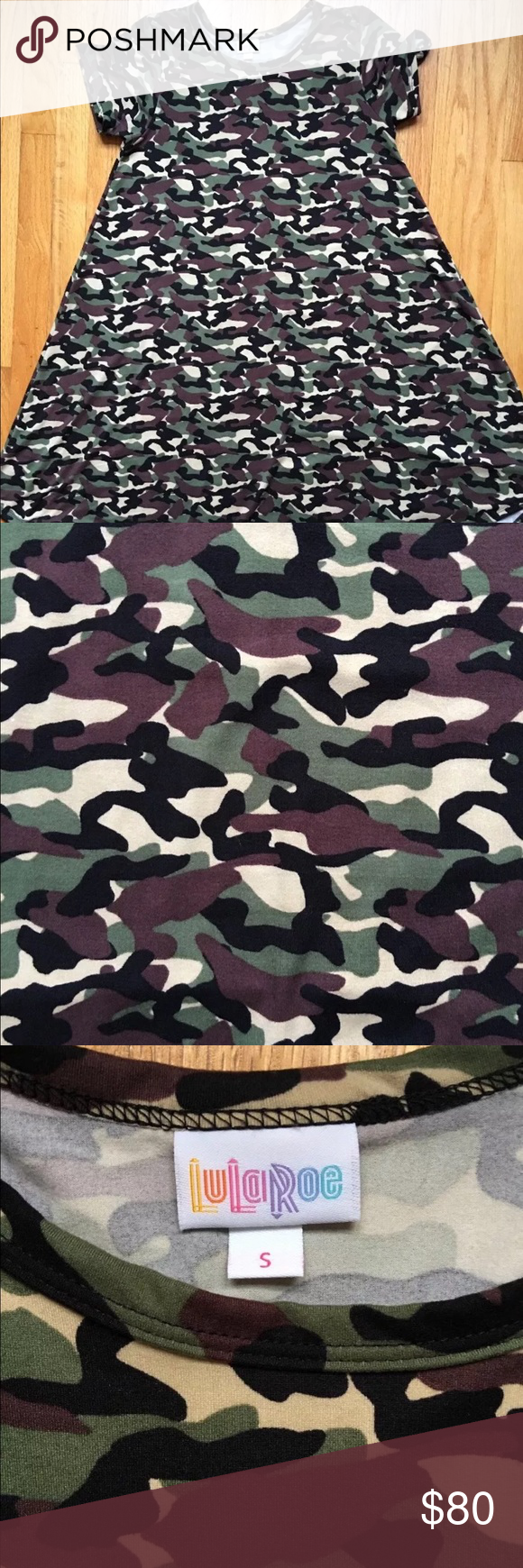 ab4ed2c5d1162 ***UNICORN*** Lularoe Camouflage Carly S RARE NO POCKETS NWOT washed once  per LLR standards never worn. Pet free smoke free home. LuLaRoe Dresses