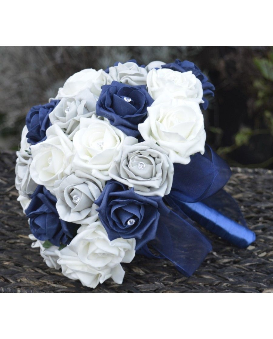 Navy Silver Rose Bridal Bouquet Of Navy Blue And Silver Grey