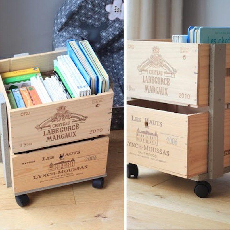 9 Diy Pour Fabriquer Une Bibliotheque Pour Enfant Caisse A Vin Idee Rangement Deco Caisse De Vin