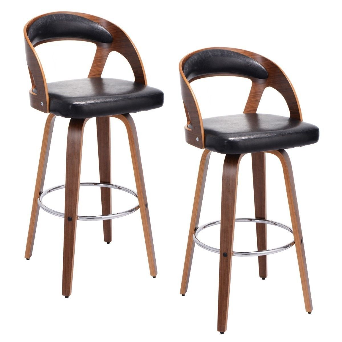 Set Of 2 Bentwood Bar Stools PU Leather Modern Barstool Bistro Pub Chair Set