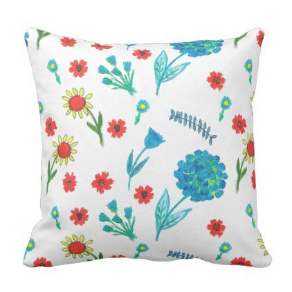 Modern Floral Cushion Fun Spring Flowers Design Throw Pillow
