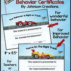 """Reward and reinforce wonderful and improved behavior with these 2 cool car certificates.  Both certificates are 11"""" x 8 ½"""". They are great for teac..."""