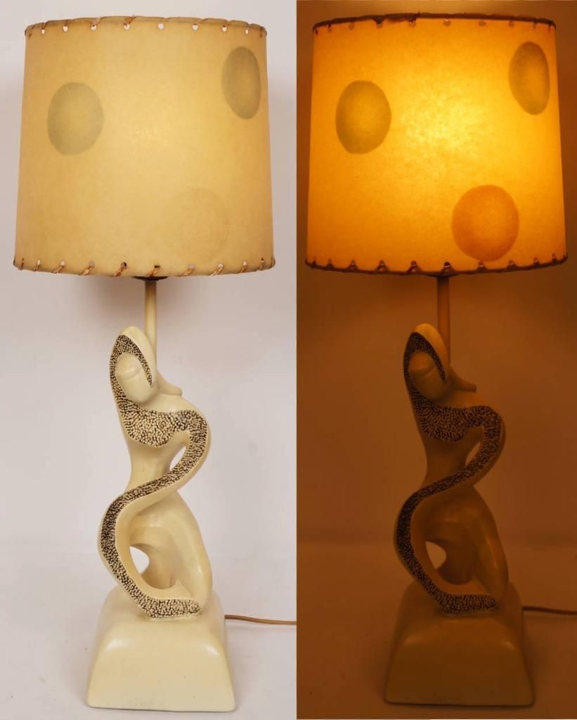 This Is A Wonderful Chalkware Plaster Lamp Made By F I P