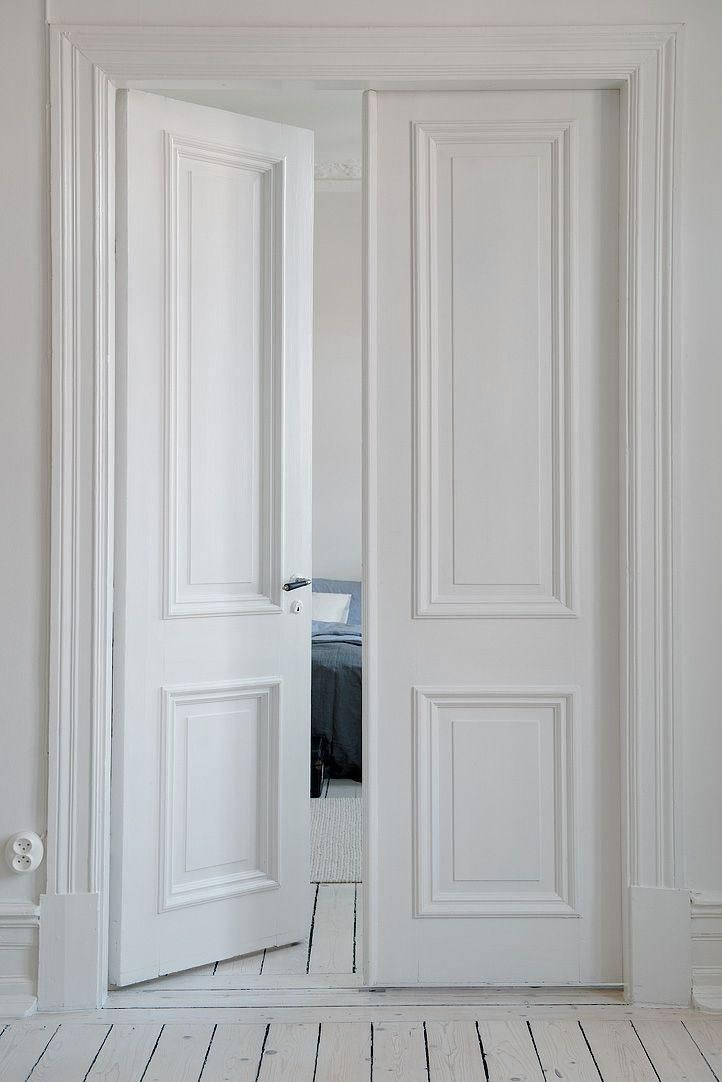Bedroom Doors Internal French White Double Panel Narrow