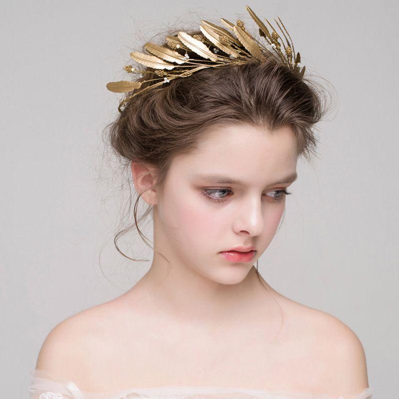 Gold Leaves headband Wedding Headpiece Handmade Bridal Hair Vine Hair Accessories wedding crowns gold tiaras