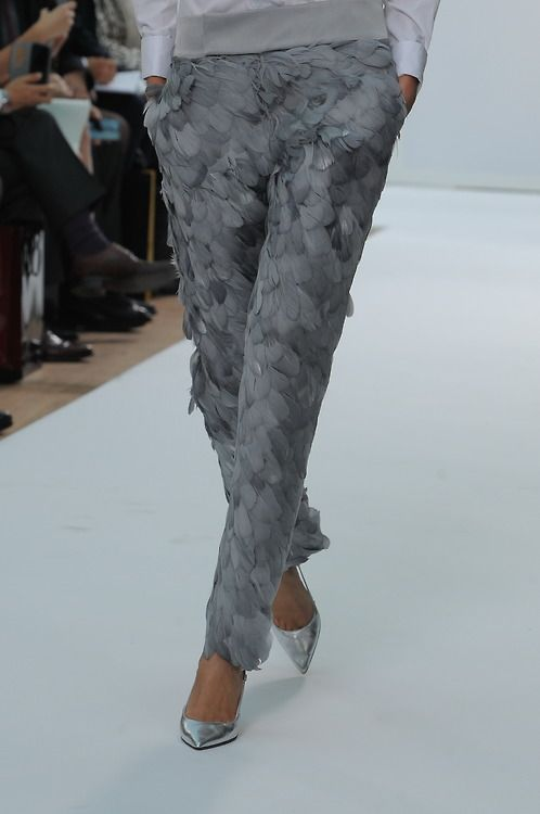 We're in a flap over these beautiful plumed trousers seen at @DAKSLondon today . #SS15 #LFW