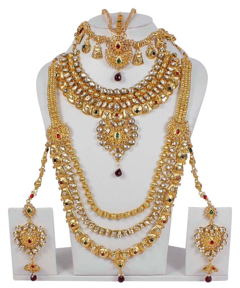Bollywood Designer Gold Plated Jewelry Indian Kundan Polki Bridal Necklace Set