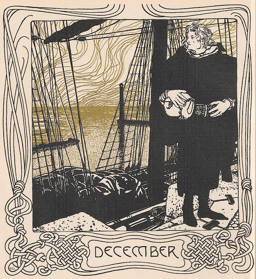Ver Sacrum calendar for December 1901, produced by Alfred Roller.