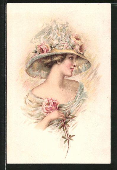 cartolina antiche: AK Dame mit Hut und rosa Rose