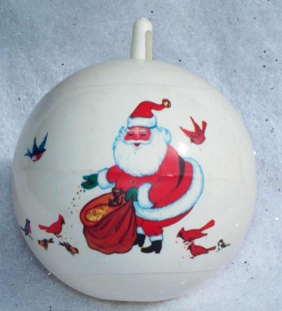 Bradford christmas ornaments - Vintage Santa Claus Feeding Birds Bradford Plastic Christmas Ornament