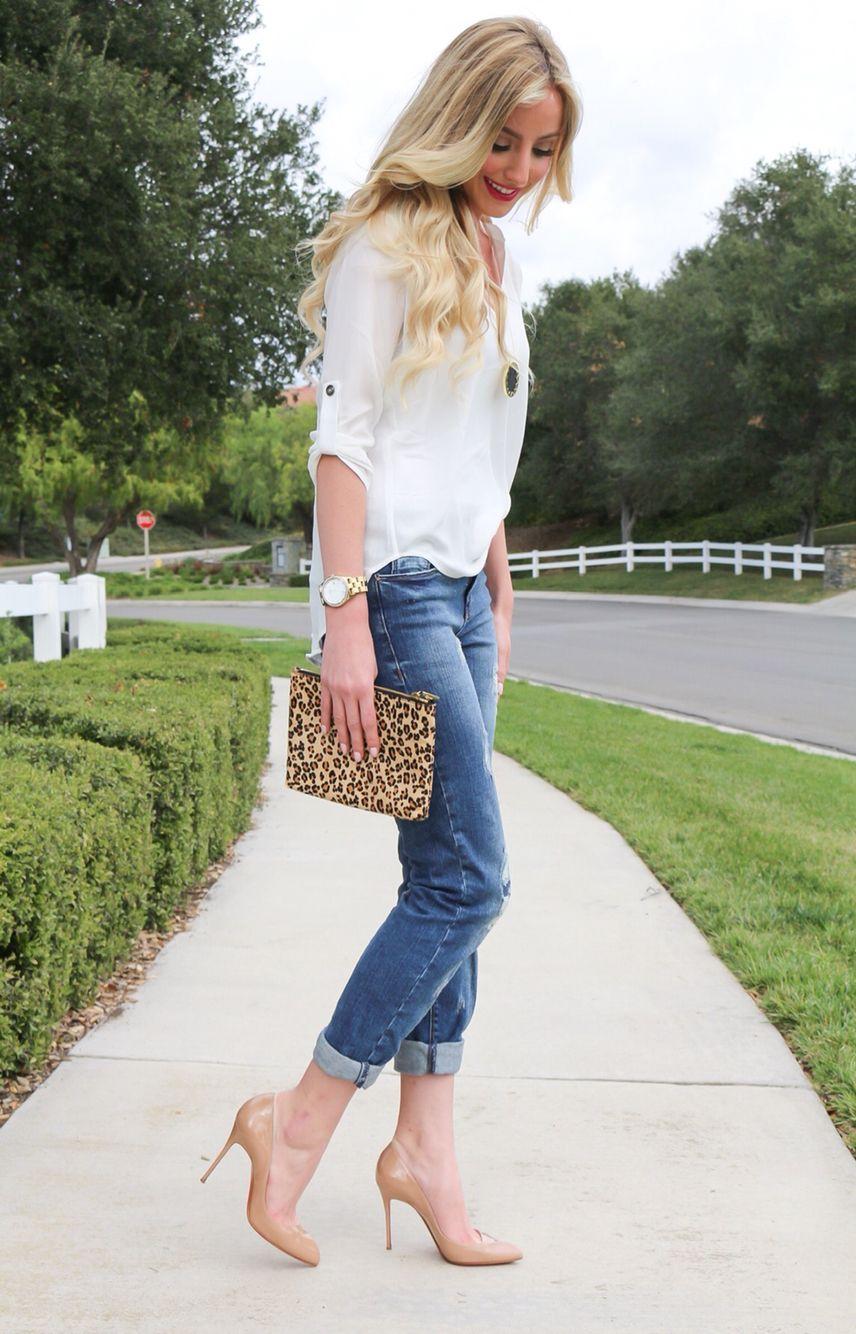 3deea2c617 Boyfriend jeans- leopard print clutch- nude pumps- casual outfit. Find this  Pin and more on a touch of pink blog. by Katelyn Jones.