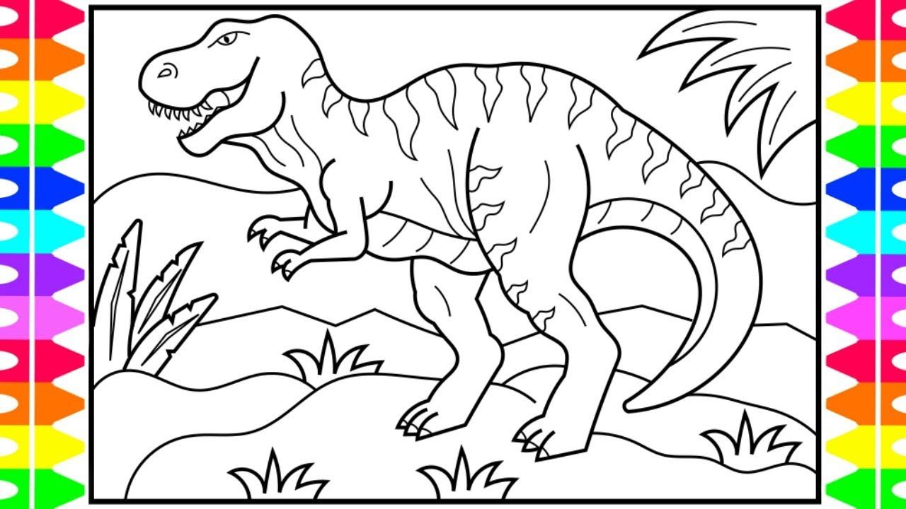 Dinosaur Coloring Pages How To Draw A Dinosaur For Kids