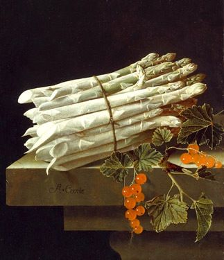 """Still Life with Asparagus & Spray of Red-Currants""  --  Circa 1696  --  Adriaen Coorte  --  Oil on canvas  --  National Gallery of Art  --  Washington, DC"