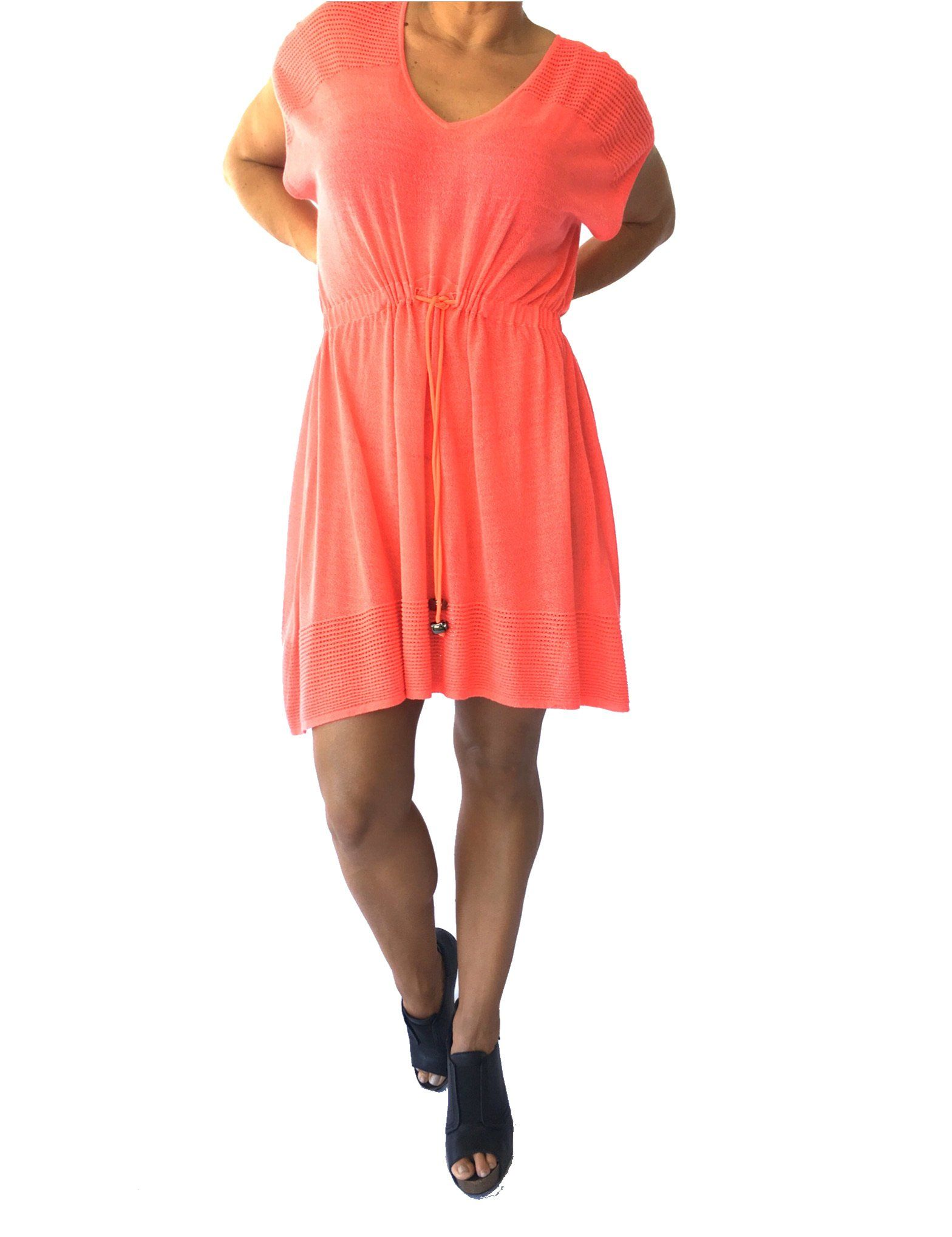Milly toggle tie pointelle dress small fluorescent melon v neck