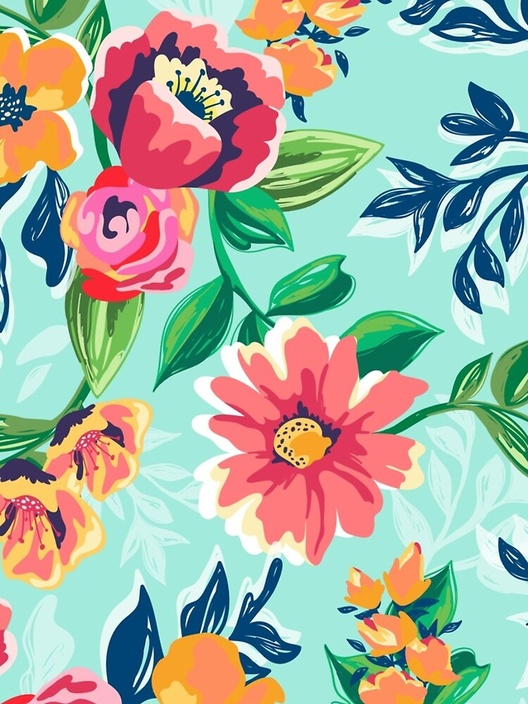 ' Botanical pattern of orange and pink flowers on light blue background' iPhone 11 - Soft by Kanae19