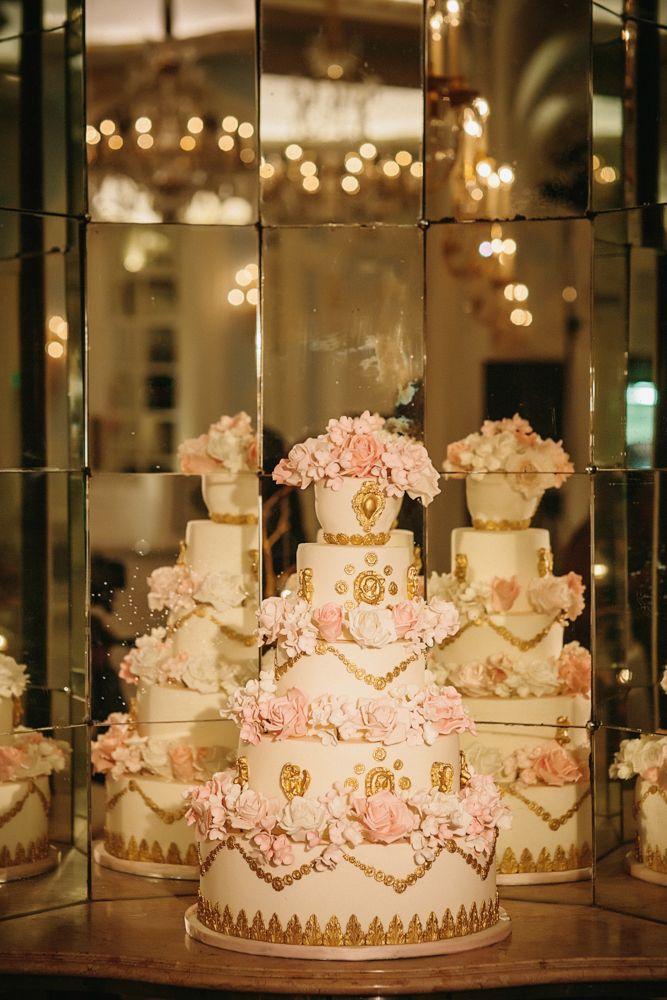 Marie Antoinette Cake. An Elizabeth's Cake Emporium baroque cake design. Love the mirrored walls. Image taken at The Savoy.