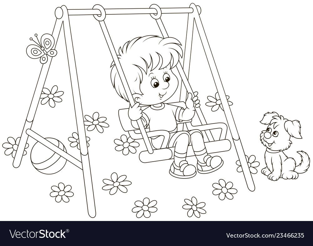 Small Boy On A Toy Swing On A Playground Vector Image On Cartoon