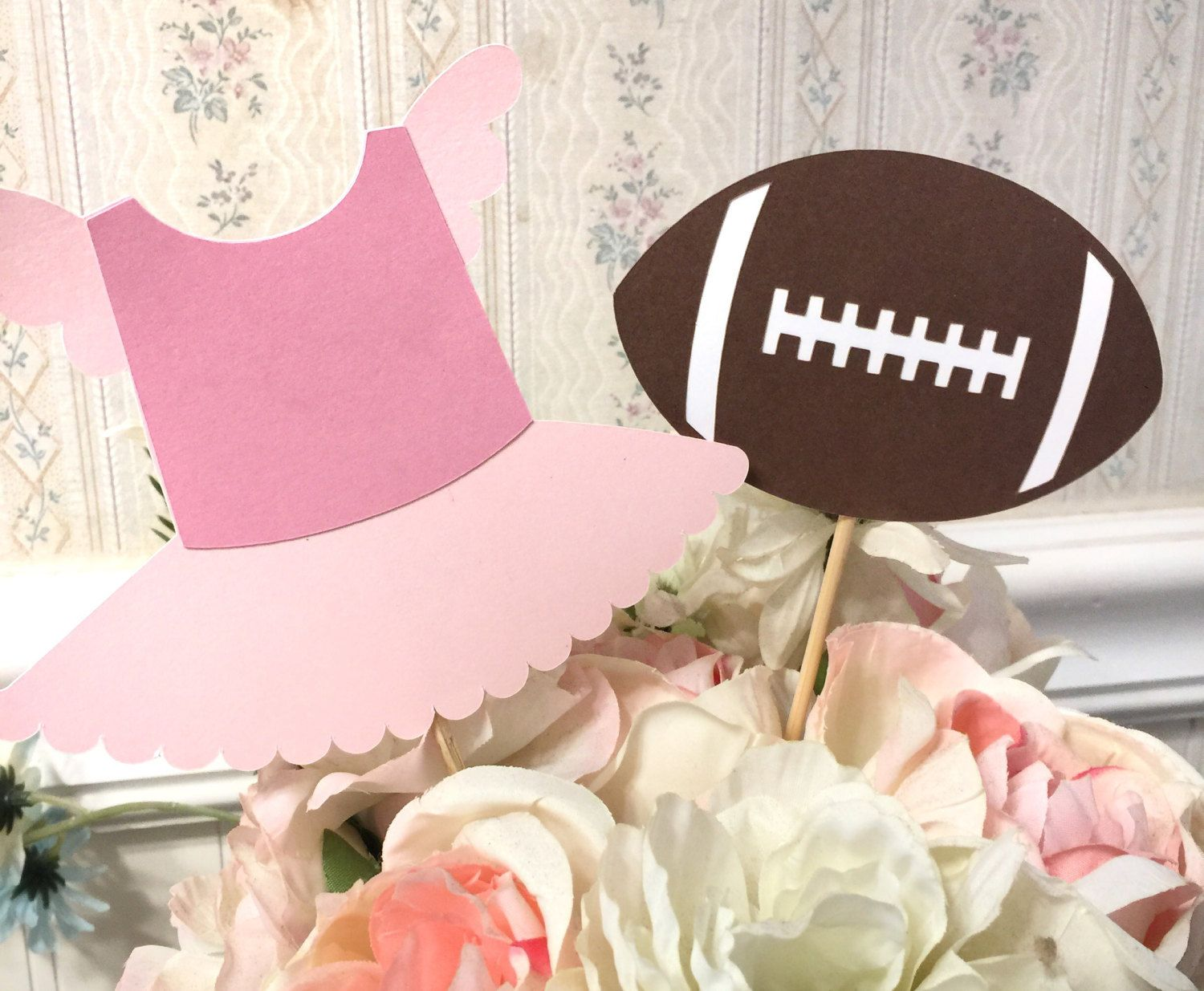 6 Piece Touchdowns Or Tutus Gender Reveal Table Decorations Centerpiece Picks Pink Vs Tutus Gender Reveal Gender Reveal Decorations Gender Reveal Diy