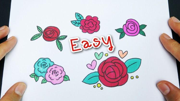 Draw Rose 5 Different Ways สอนวาดร ปดอกก หลาบ ง ายๆ 5แบบ Easy Tutorial For Beginners ดอกก หลาบ สอนวาดร ป ต ดเย บเส อผ าแฟช น