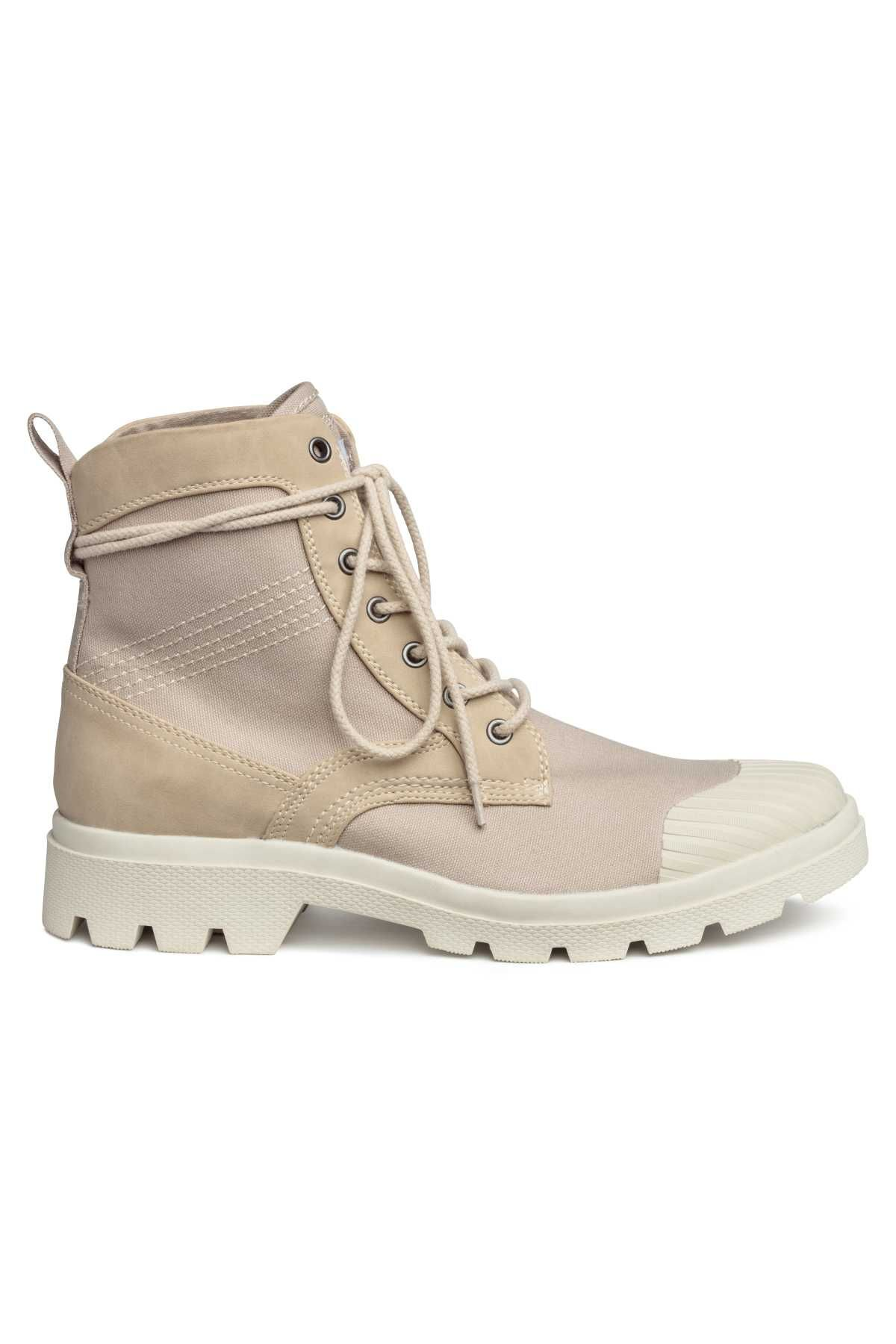 Light beige. Cotton canvas boots with a rubber toe cap and faux suede  details. Ankle-high leg section 05a7f68e7a