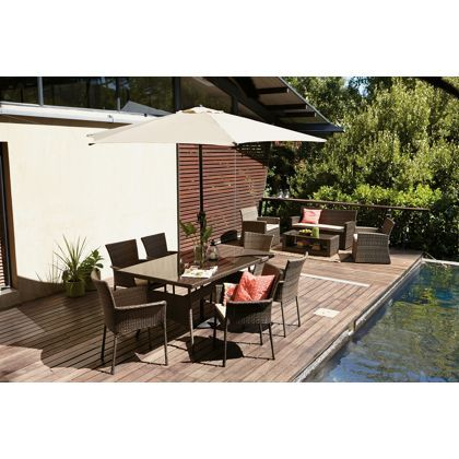 Garden Furniture 6 Seater mali rattan effect 6 seater brown garden furniture set - home