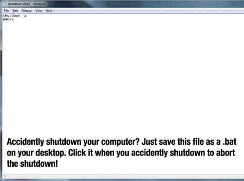 How to stop an accidental shutdown on a windows computer Tech - computer tech resume
