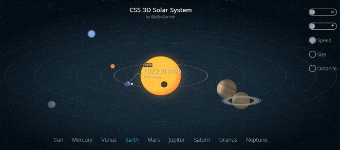 jQuery and CSS 3D Solar System by Codepen | HTML & CSS | 3d