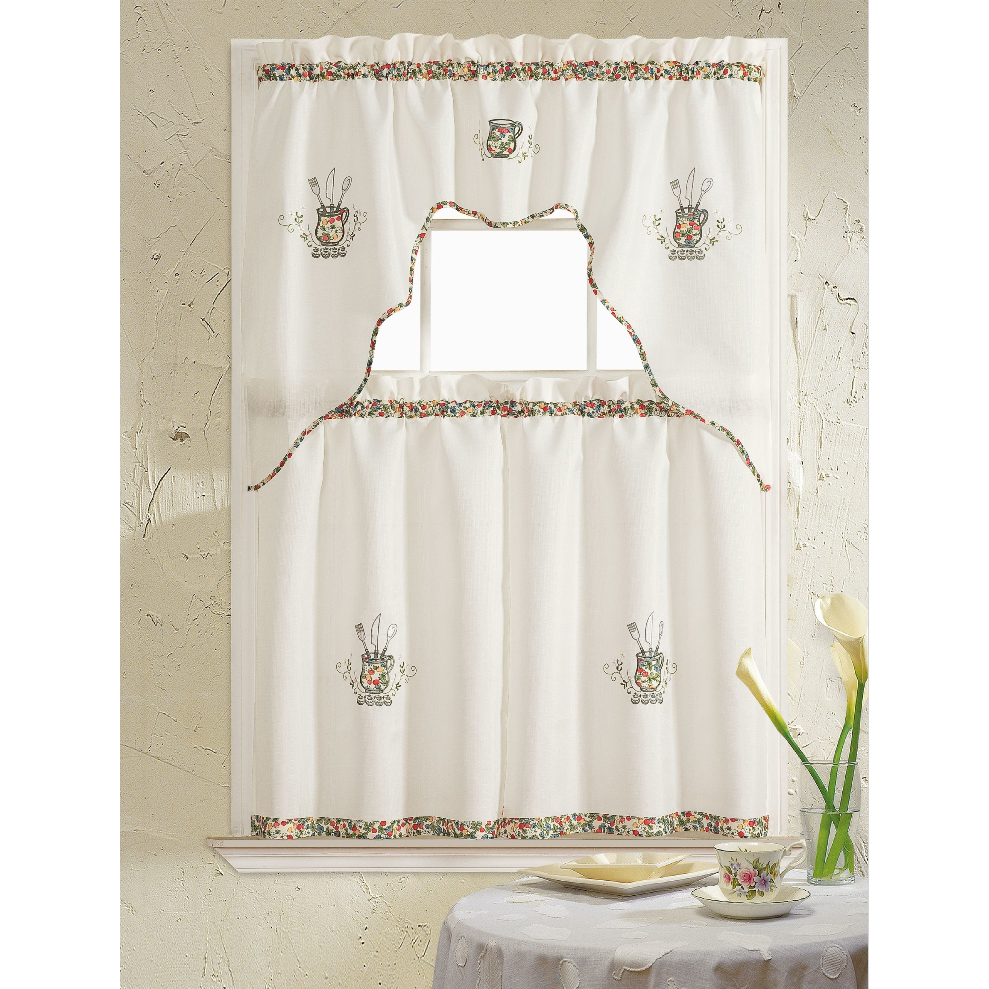 rt designers collection grand silver embroidered kitchen curtain rh pinterest co uk