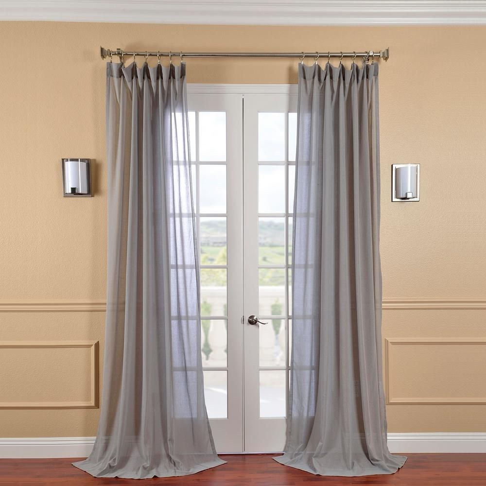 Exclusive Fabrics Furnishings Nickel Grey Faux Linen Sheer Curtain 50 In W X 120 In L Shflnch M015 120 Sheer