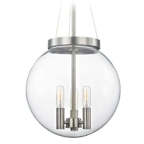 Design classics satin nickel pendant light with globe shade 1677 09 destination lighting