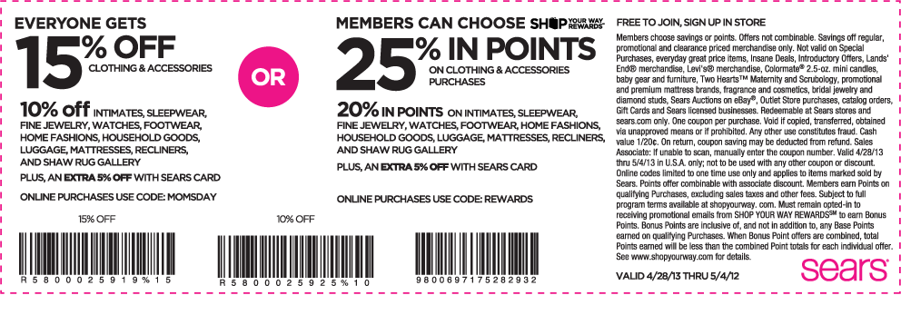 15 Off Clothing At Sears Or Online Via Promo Code Momsday Free Printable Coupons Printable Coupons Free Coupons Online
