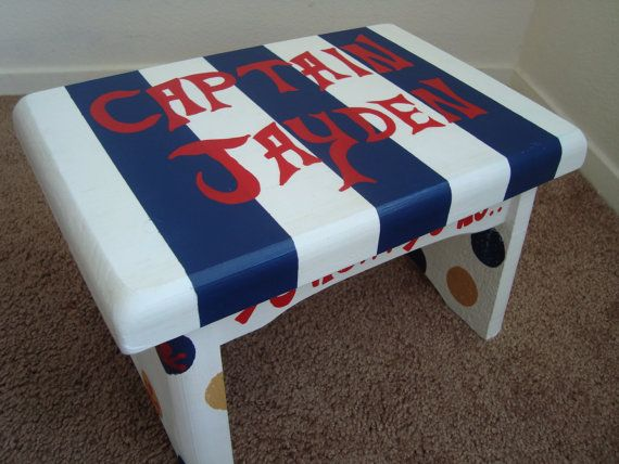 Outstanding Custom Painted Little Boys Step Stool Pirate Nautical Machost Co Dining Chair Design Ideas Machostcouk