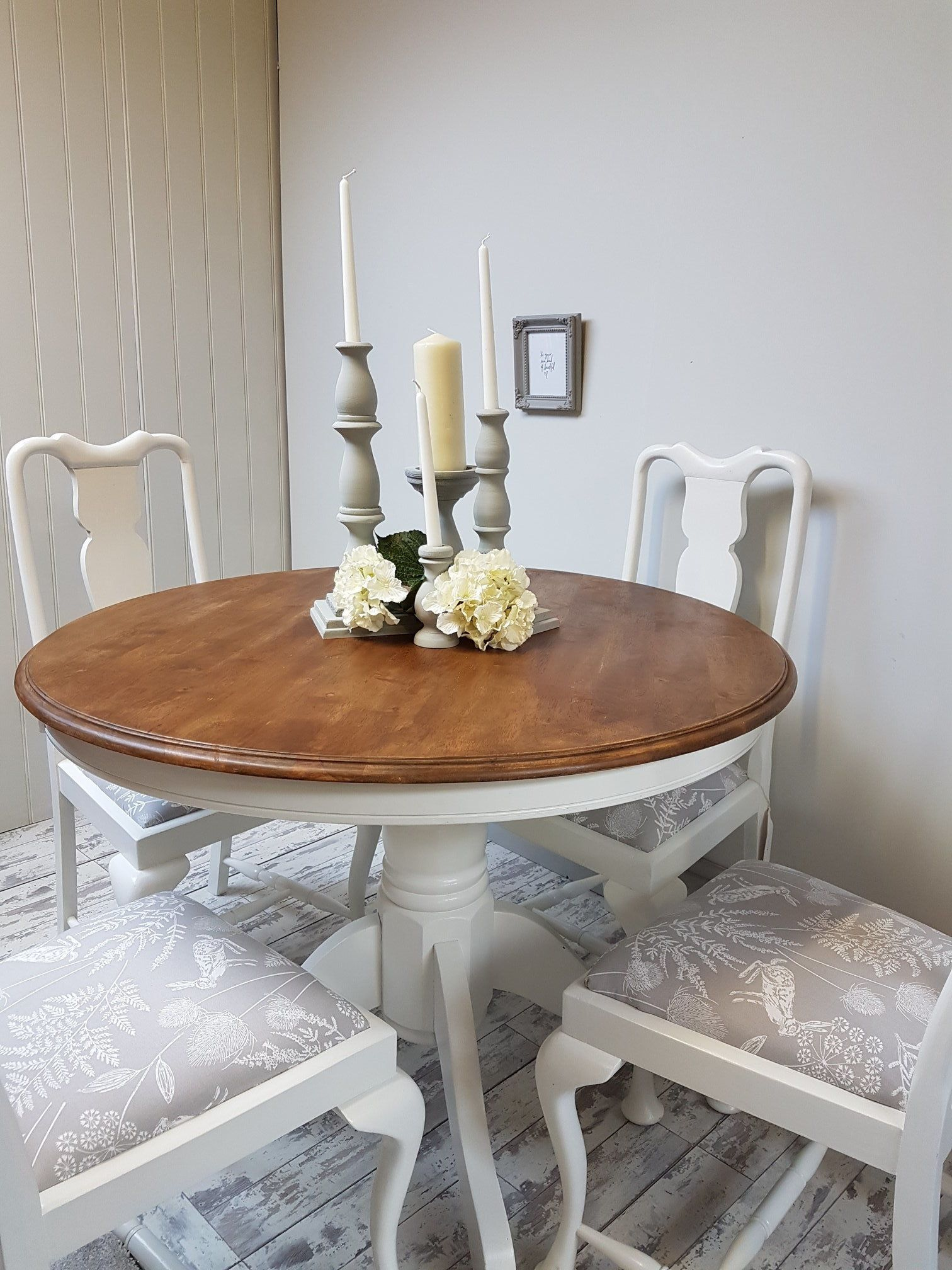 Circular Dining/Kitchen Table Painted White With Natural ...