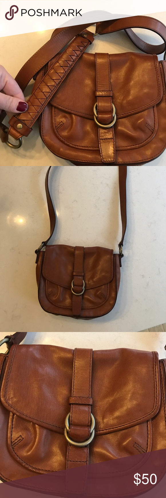 5b455794989 Cole Haan small brown leather crossbody bag cognac Adorable like new small  size Cole Haan crossbody