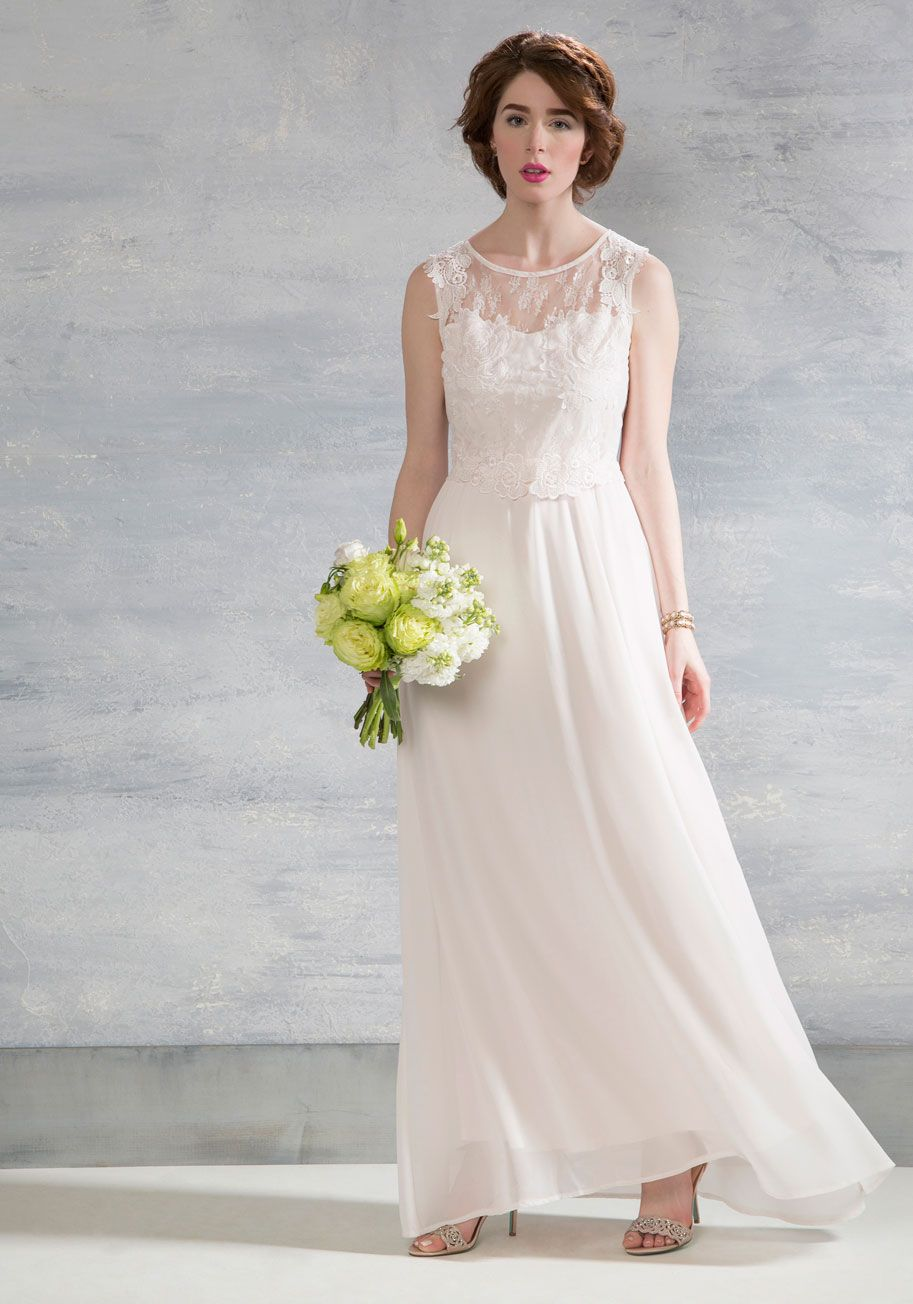55d6bef15928 Own the Ceremony Dress in White. Commanding all aisles on you with delicate  detailing, this ivory gown is the embodiment of bliss. #white #wedding  #bride # ...