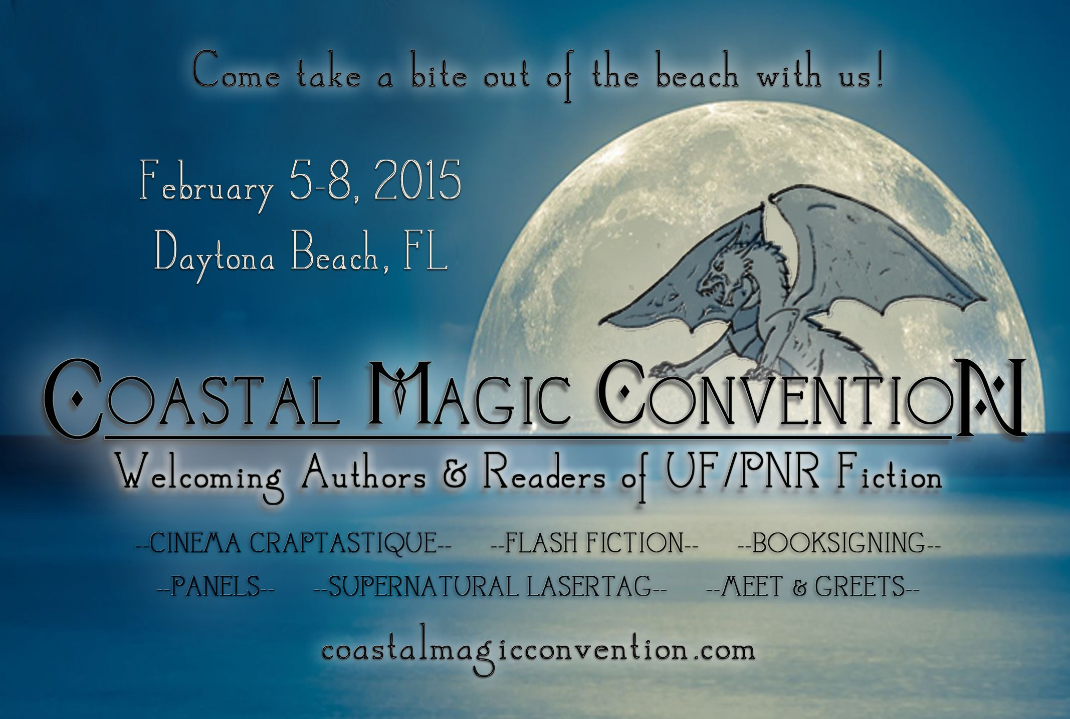 """Coastal Magic is a super casual, urban fantasy and paranormal romance focused convention in Daytona Beach, FL. With panels designed to start interesting discussion, and meet  greets with fun themes, we've got something for everyone. Join us for reader / blogger / author shenanigans and lots of """"preternatural"""" chats. Come take a bite out of the beach with us!! http://CoastalMagicConvention.com"""
