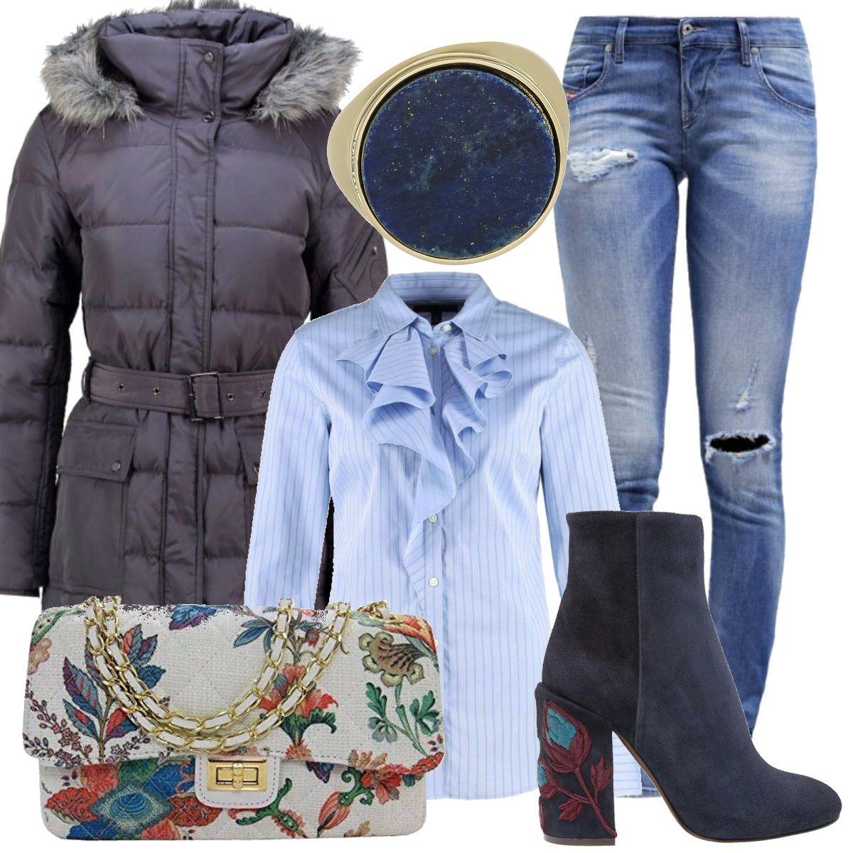 Un outfit molto curato per i suoi particolari  piumino blu navy ... 5275b9559065